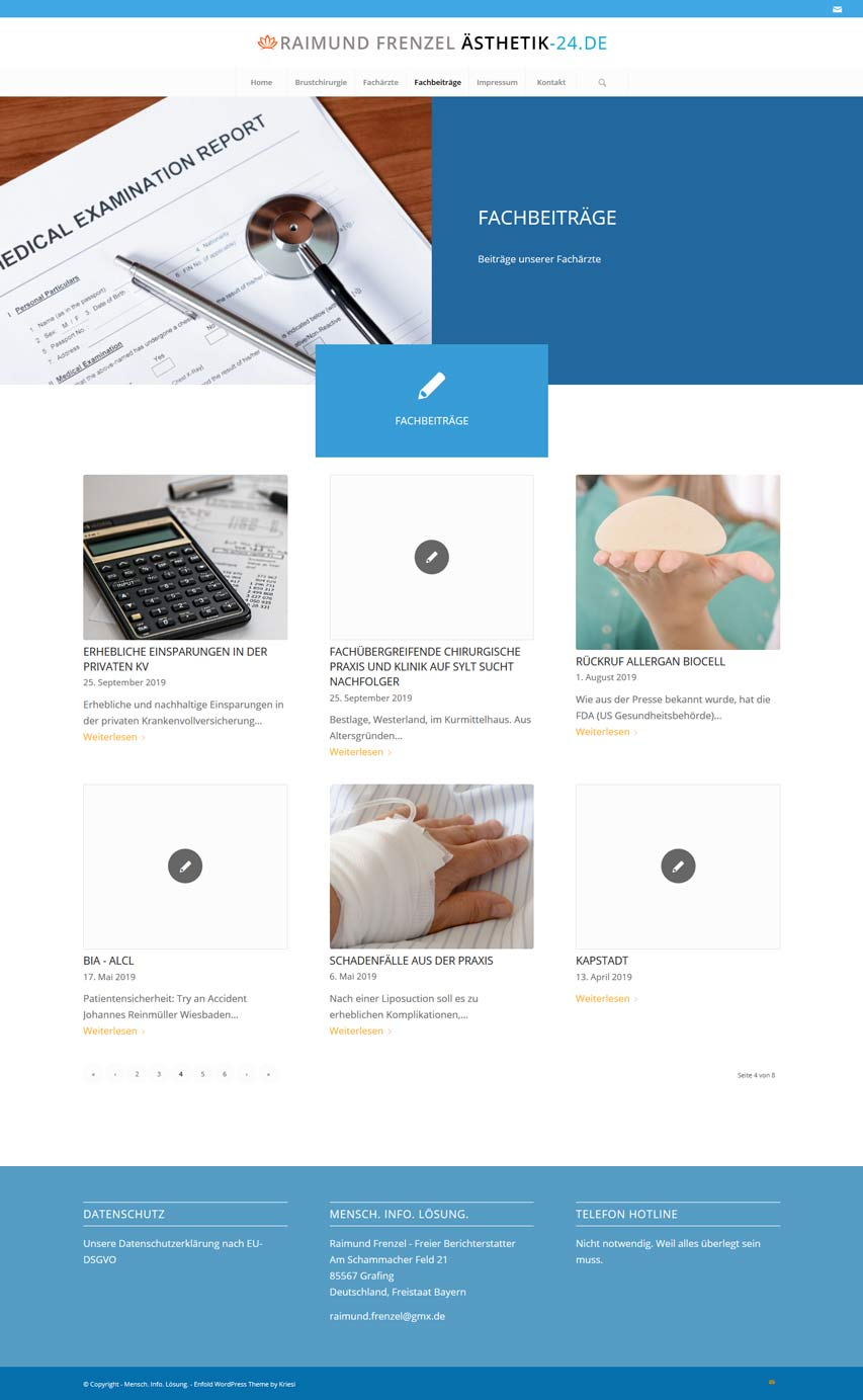 Bildschirmfoto Portal für die menschliche Ästhetik