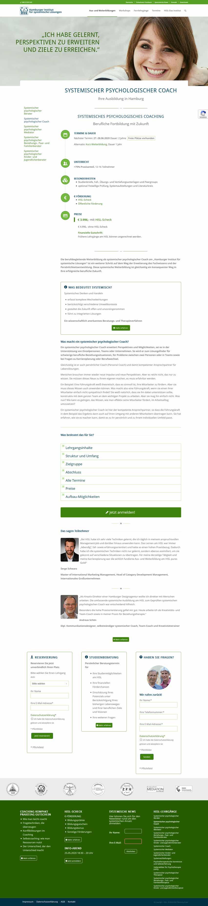 Bildschirmfoto Hamburger Institut für Systemische Lösungen
